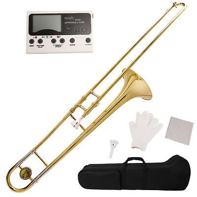 New Bb Slide Trombone Professional with Tuner, Case, Care Kit School Band