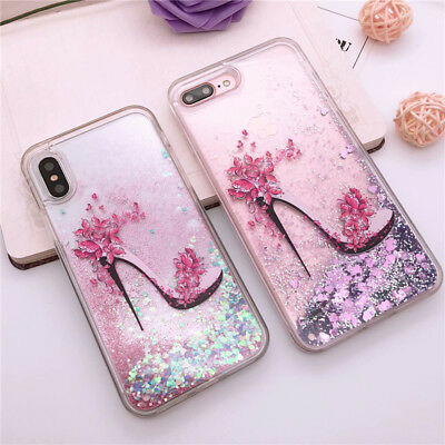 For iPhone 7 8 X Plus Printing Bling Dynamic Liquid Glitter Quicksand Case Cover