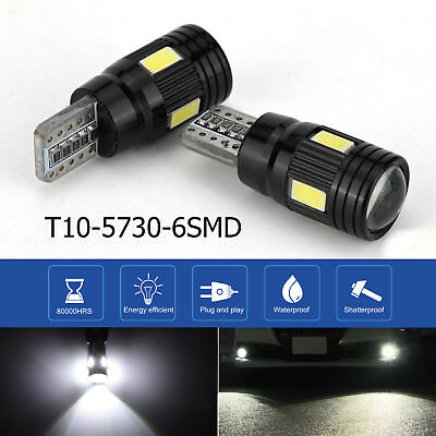 2x T10 LED bianco 6 SMD 5730 Canbus Error Free Car Wedge Lampadina luce targa IT