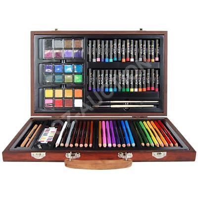 88 Piece Art Box Wooden Set Pastel Water Crayon Colouring Painting Drawing Wood-