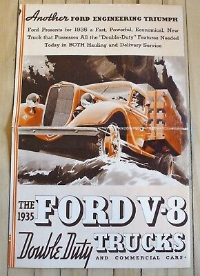 Original 1935 Ford Truck Dealer Full Line Sales Brochure Multi-panel