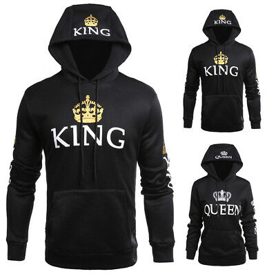 King and Queen Crown Couple Sweatshirt Couple Hoodie Jumper Sweater Tracksuit AU