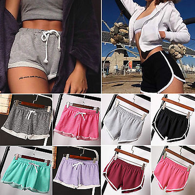 HOT UK Womens Girls Casual Running Sport Shorts Yoga Gym Jogging Waistband Pants