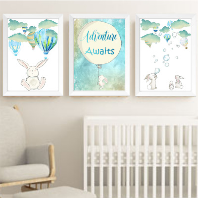 Air Balloon Bunny Rabbit Nursery Wall Art Prints Set Of 3, Neutral Baby Room