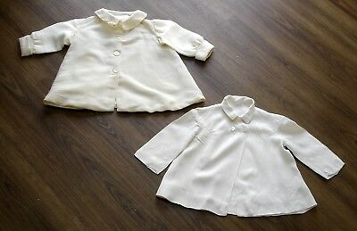 2 x 1950 Vintage Childs Baby Toddler Linen Jackets Coats 6-9 Months