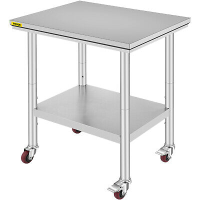 """Stainless Steel Commercial Kitchen Work Food Prep Table w/ 4 Casters - 30"""" x 24"""""""