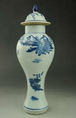 Old Chinese Blue and white porcelain Glaze children pattern Pot  c01