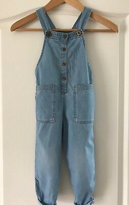 Next Girls Light Blue Denim Dungarees Age 2-3 Years soft Denim All In One outfit