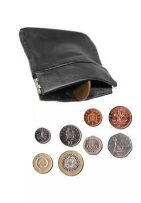 Geniune Soft Leather Snap Top Coin/cash Pouch Black Small Purse