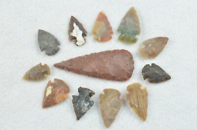 """12 PC Flint Arrowhead Ohio Collection Points 1-3"""" Spear Bow Knife Hunting Blade"""