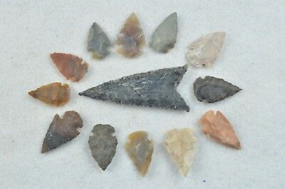 """13 PC Flint Arrowhead Ohio Collection Points 1-3"""" Spear Bow Knife Hunting Blade"""