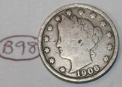 United States 1906 Liberty Head Nickel USA 5 Cents Coin Lot #B98
