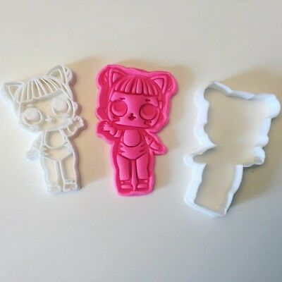 Lol Surprise confetti Birthday, Baby Cat cookie cutter with stamp