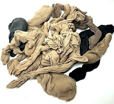 Lot of 30 used pantyhose knee highs for crafts different colors black tan gray
