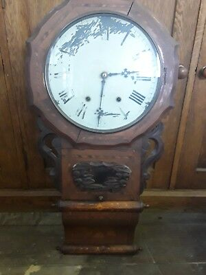Victorian mahogany and inlaid 8 day drop dial Anglo American wall clock