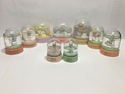 Precious Moments Enesco Lot Of (9) Snow Water Globes Different.