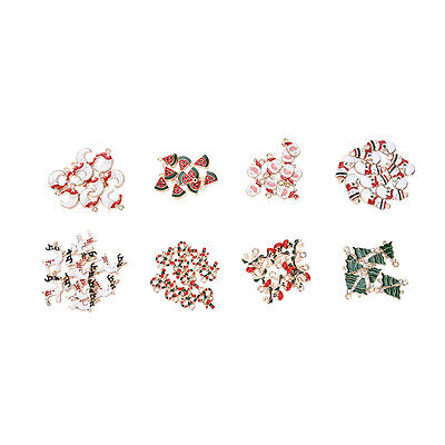 10 pcs Xmas Christmas Mix Silver Plated Enamel Pendants Charms MD