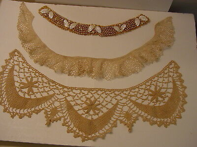 Lot 3 Vintage Ladies COLLARS One With Pearl Beads/MOP Shells & 2 Hand Crocheted