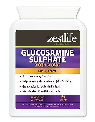Zestlife Glucosamine Sulphate 2KCl 1500mg 60 tablets - joints,muscles & tendons