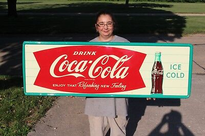 "Large Vintage 1962 Coca Cola Fishtail Soda Pop Gas Station 54"" Metal Sign~Nice"