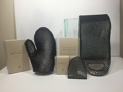 """New """"Supracor"""" SpaCells Face Sponge, Bath Mitt and Body Exfoliator """"Solid Black"""""""