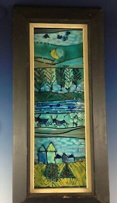 Vintage HARRIS STRONG Ceramic Art Tiles Blue Farm / River Framed Mid Century MCM