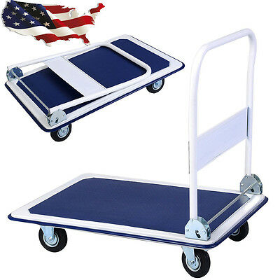 660lbs Cart Dolly Foldable Moving Warehouse Push Hand Truck For Heavy Goods