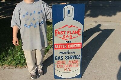 "Large Vintage 1940's Fast Flame Gas Service 47"" Embossed Metal Sign"