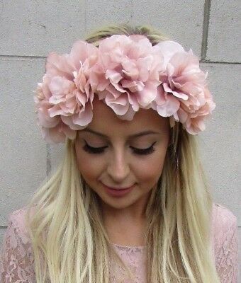 Large Nude Blush Pink Rose Flower Headband Festival Boho Hair Crown Garland 5885