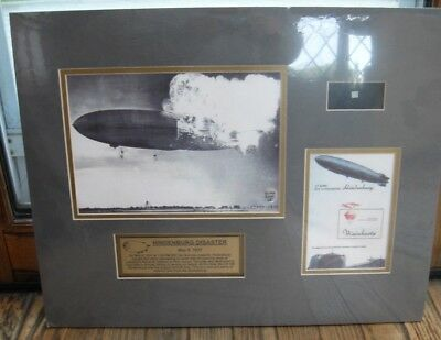 Mounted Hindenburg Disaster Collection  16 by 20 inches contains skin fragment