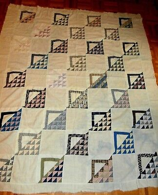 """Antique Basket pattern quilt top cutter or repair 57"""" x 67"""" very early fabrics"""