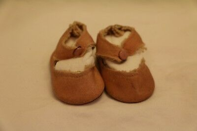 Vintage Pink Doll Shoes, Vintage Center Snap Doll Shoes, 2 1/4 IN Doll Shoes