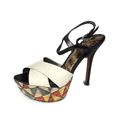 2b06d0b99661 SAM EDELMAN PLATFORM Heels Women Size 8 M Mason Black Leather Upper  Colorful -  19.95