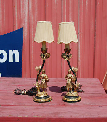 """Rare Pair Of AMW Ronson Art Deco Table Lamps 16-1/2"""" Tall"""