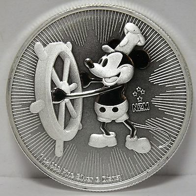 Mickey Mouse .999 Silver Coin 2017 Niue $2 Steamboat Willie Disney - 1 oz Troy