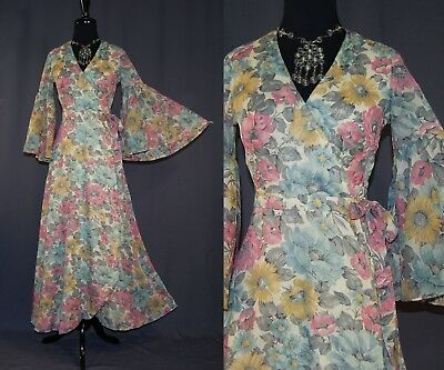 Vintage 70s Romantic Floral Boho Wrap Dress Bell Sleeves Judy's XS
