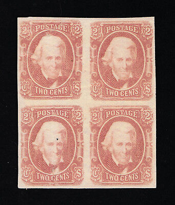 GENUINE CONFEDERATE CSA SCOTT #8a MINT OG VLH 2¢ BLOCK OF 4 PALE RED ARCHER DALY
