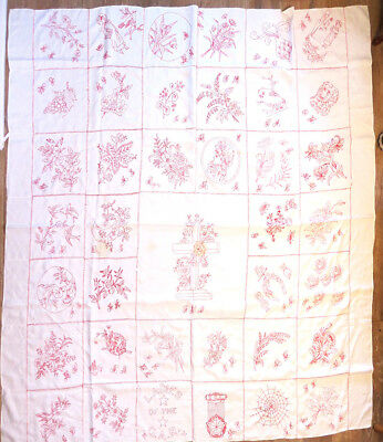Antique Quilt Top Redwork Embroidered Linen by Ladies of the GAR 79x79