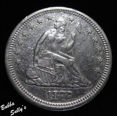 1877 S Seated Liberty Quarter <> XF Details