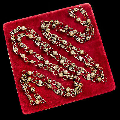 Antique Vintage Art Deco Sterling Silver Plated Ethnic Tribal Filigree Necklace