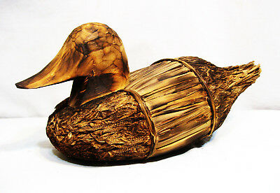 """Vintage Life-Size Straw and Wood Duck Decoy - 16"""" x  7"""" x 6"""""""