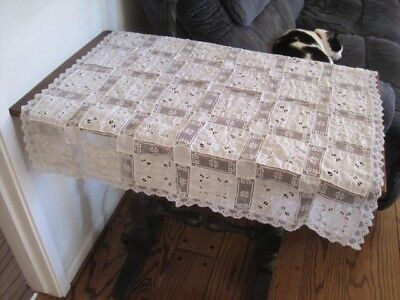 Antique Small White Embroidered, Cut Work Lace Table Cloth   - Perfect