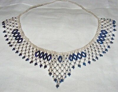 Vintage Antique Clear & Blue Glass Seed Bead Necklace / Collar Lovely Condition
