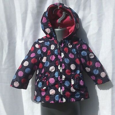 Baby Girls Jacket Blue With Colourful Spots  - Age 3-6 Months