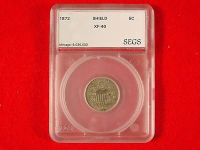 1872 Shield Nickel XF SEGS Slabbed Nice Details FREE S/H After 1st Item