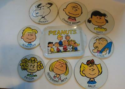 Peanuts Gang Tin Plates From 50's -60's Snoopy,charlie Brown, Lucy, Linus & More