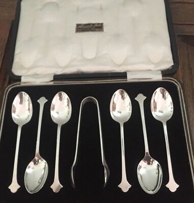 High Quality Set Of Six On Solid Silver  Onslow Style Teaspoons & Tongs Cased