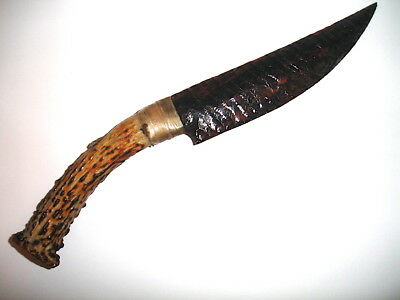 KNIFE/PIPE-Flint Knapping Red/Brown/Black Obsidian clear ribbon DeerHandle/Stand