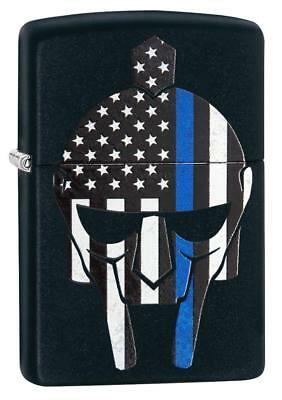 Zippo 29552, Blue Line-Police, Black Matte Finish Lighter, Full Size