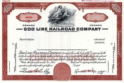 The Soo Line Railroad Company of Minnesota SPECIMEN Stock Certificate - brown